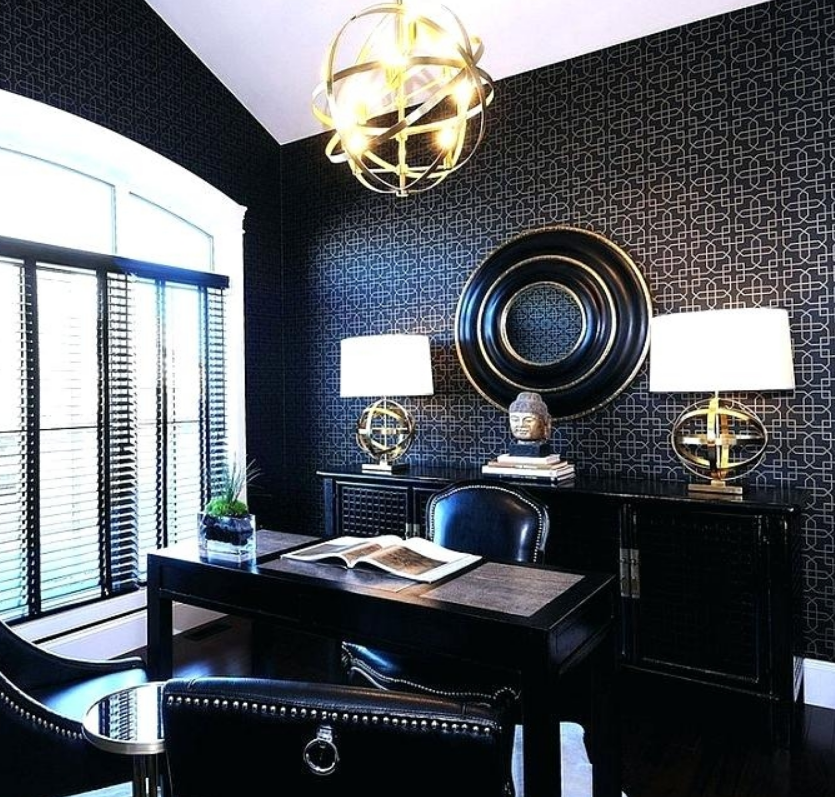 Home Office With Gold Accents Interior Decor