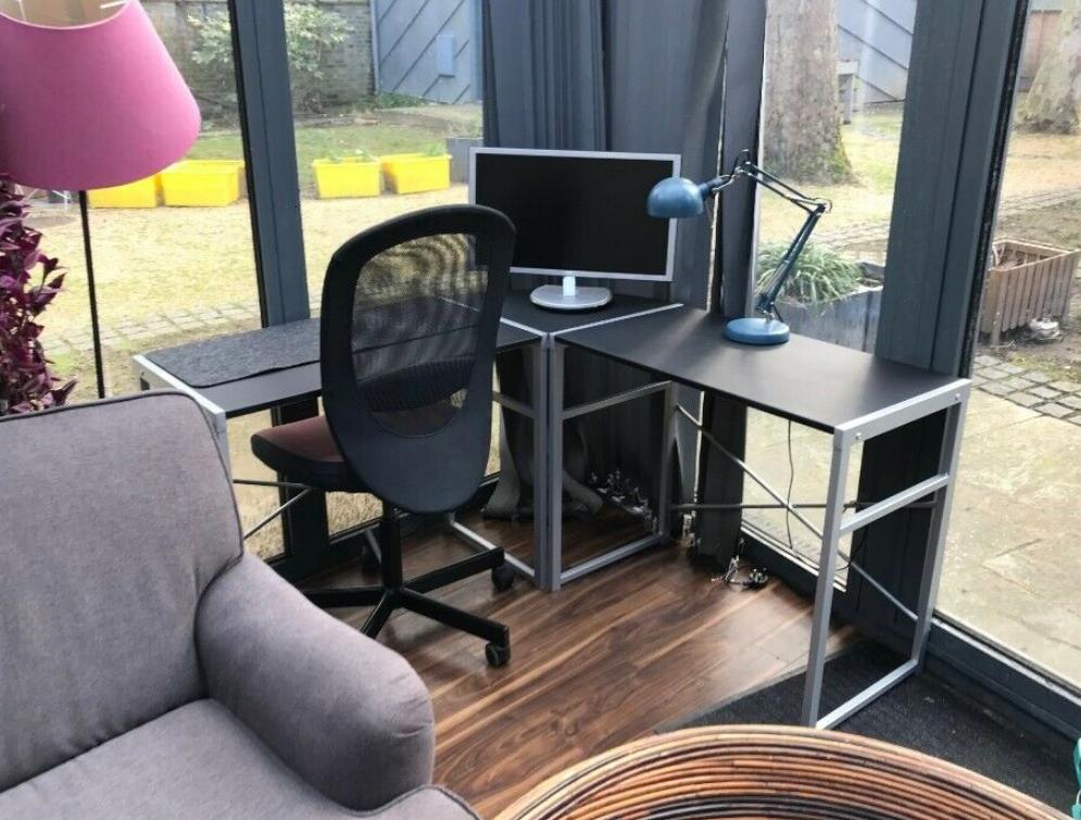 Home Metal Corner Office Desk Black