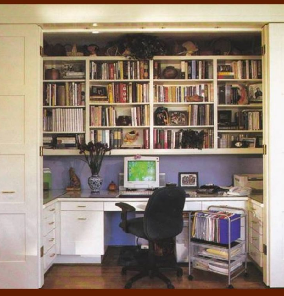 home office cabinets diy Closet with Wall to Wall Shelves