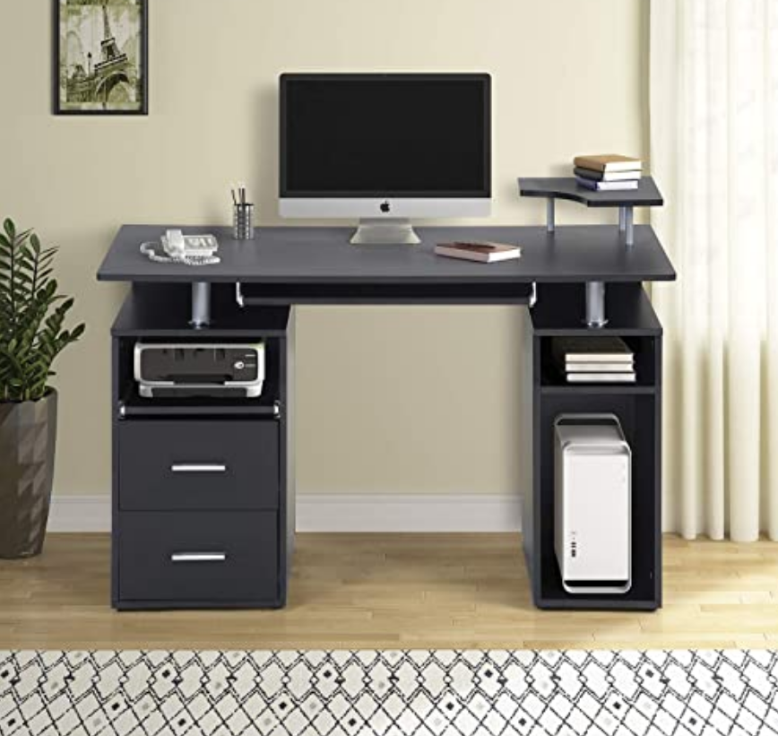 Home Office Computer Desk With Keyboard Tray