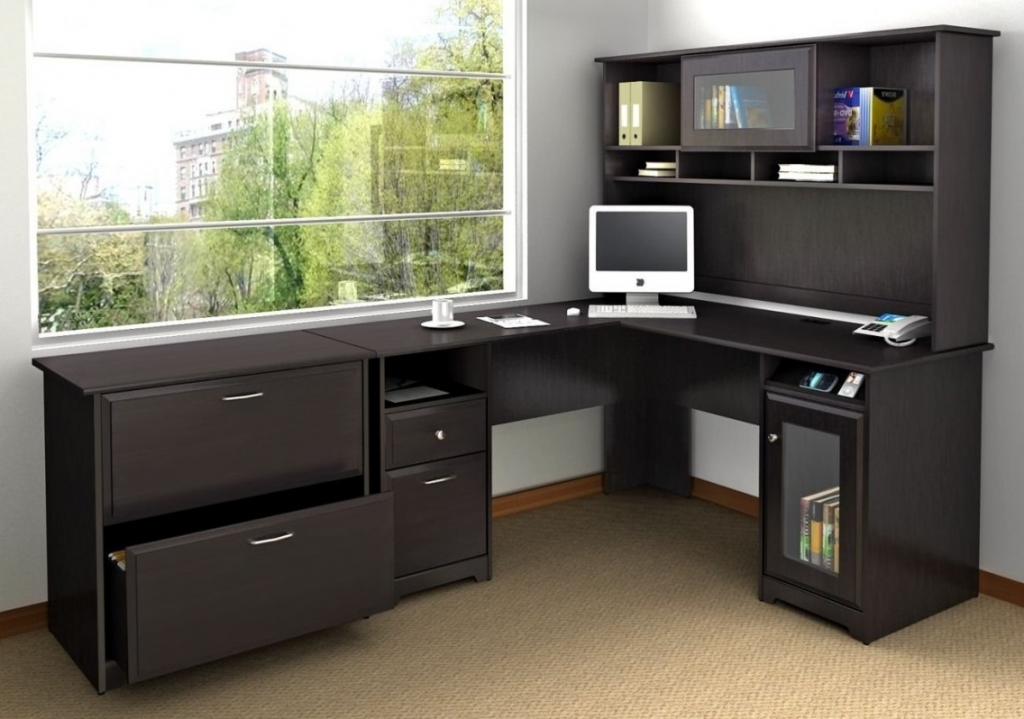 home office corner desk with drawers