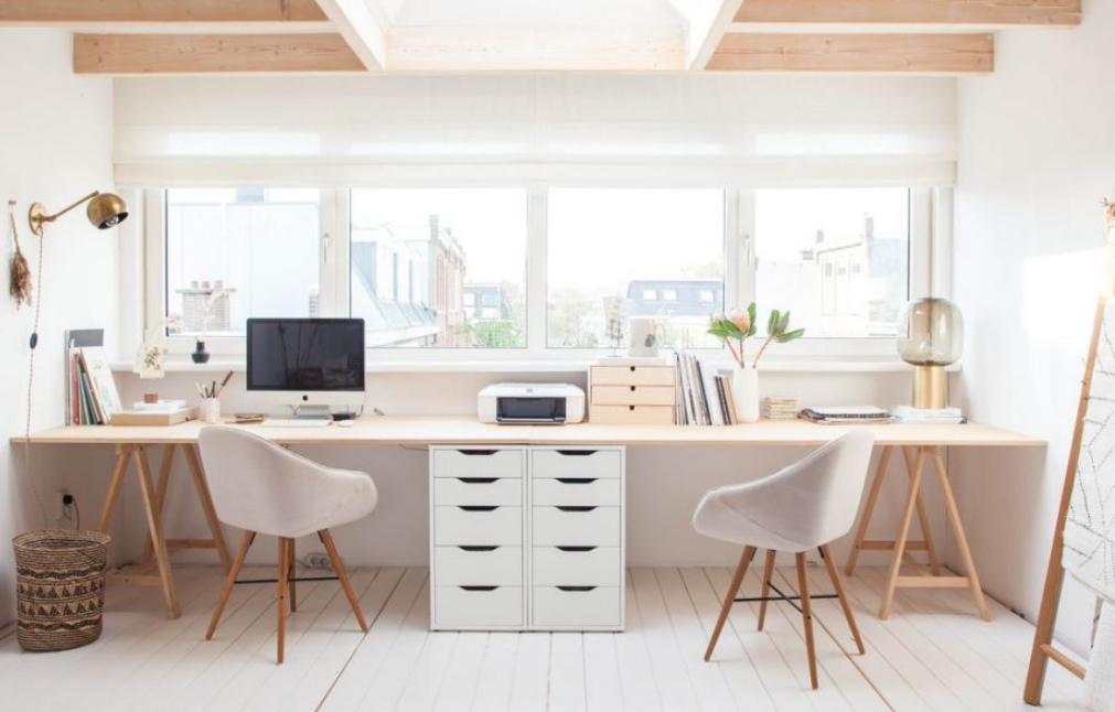 Home Office Dual Workstation Feature 2 Person Desks