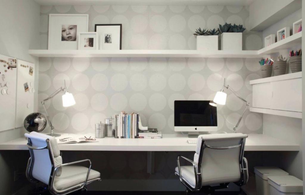 modern dual desk home office on intended desks