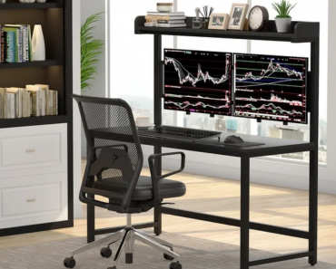 Modern Home Office Dual Monitor Desk Mount And Hutch