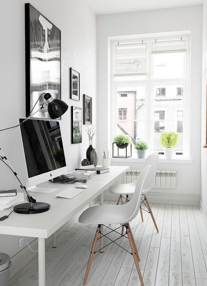 White Cool Home Office Furniture Ideas Stylish Minimalist Interior Design
