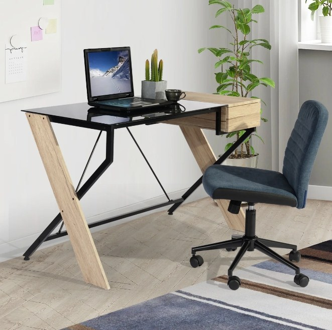 contemporary home office computer desk with glass top writing table