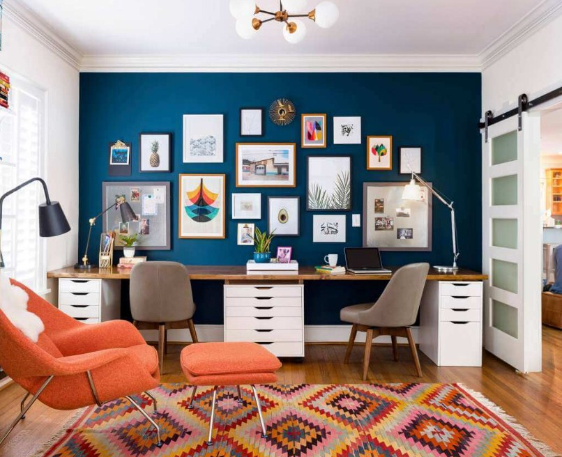 home office gallery wall accent idea