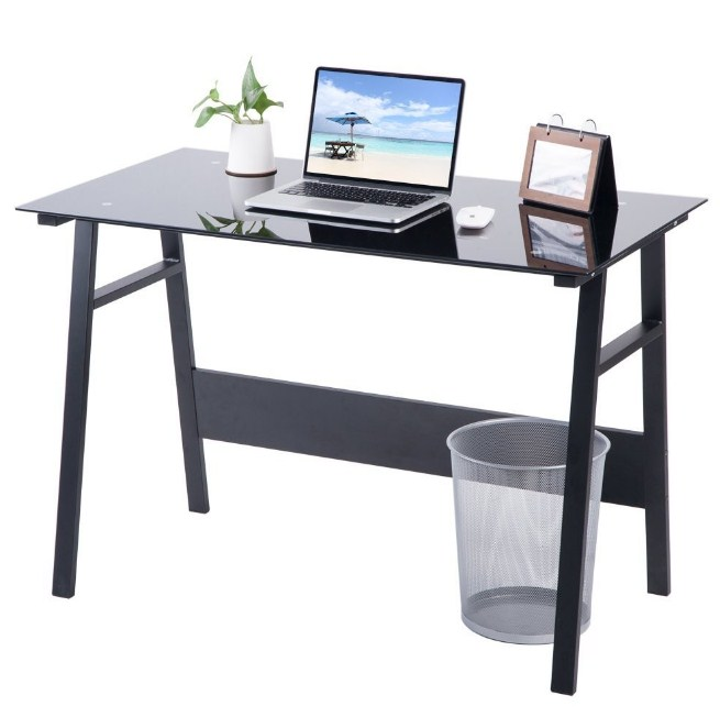 Home Office Glass Computer Desk Workstation Table Study Laptop Desktop Table
