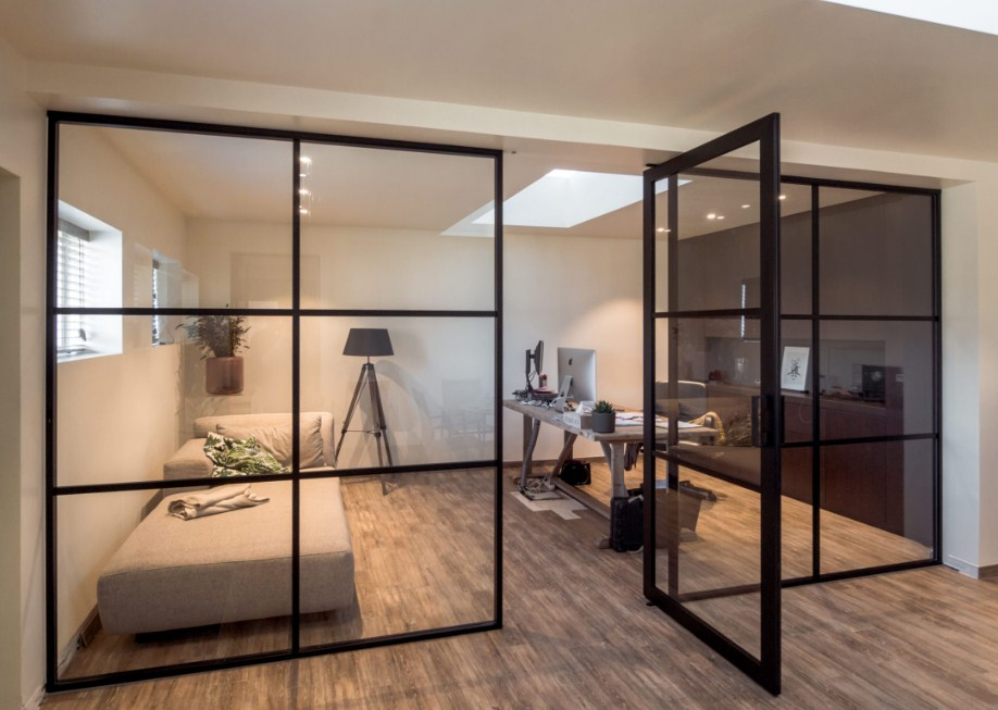 home office glass doors Crittall style office partitions