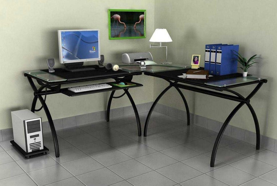 Home Office Glass Top Desk Corner Computer Desk Design And Ideas