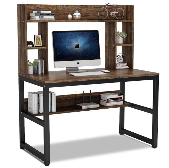 Home Office Hutch Shelves Modern Writing Table Storage