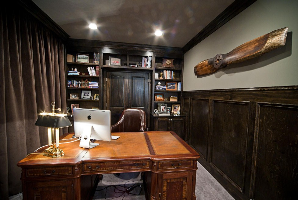Home Office Ideas Dark Wood