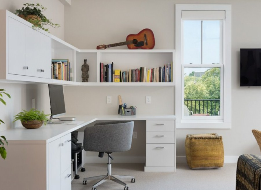 home office ideas with corner desk for small space
