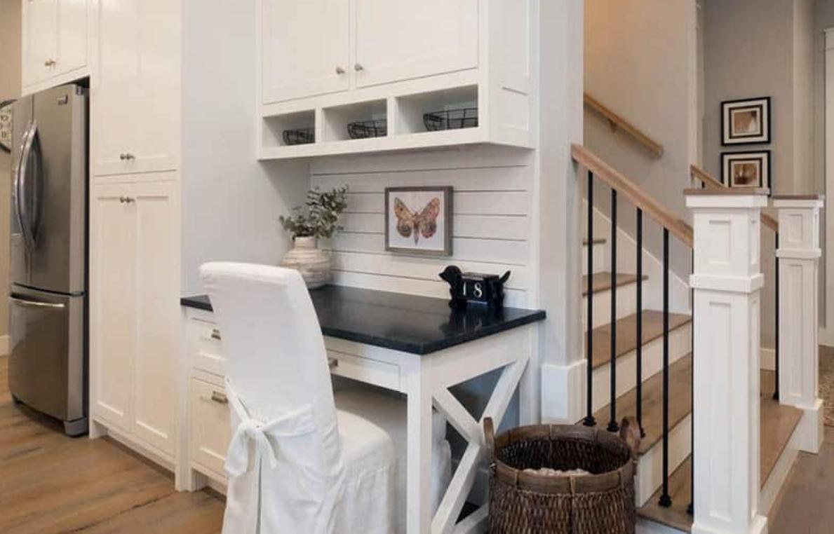 home office in kitchen nook