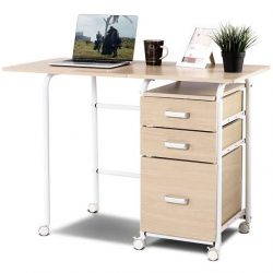 Home Office Laptop Desk Wheeled Gymax Folding Jpeg