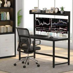 Modern Home Office Hutch Dual Monitor