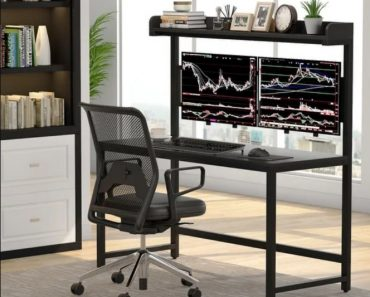 Modern Home Office Hutch Dual Monitor