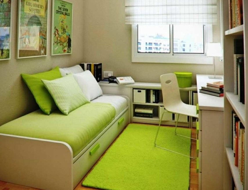 Small Home Office Guest Room Ideas Green Bed