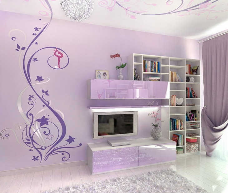 Abstract Murals In Purple Bedroom Design Wallpaper Mural Ideas Modern Bedroom Design Wall