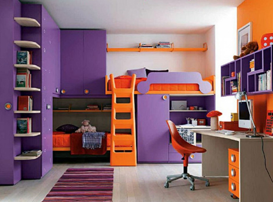 Bedroom Exciting Kid Purple Orange Cool Bedroom Decoration Using Luxury Design Your Own Bedroom For Kids
