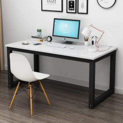 Minimalist Home Office Table Modern Style Steel Frame Wooden Home Desk