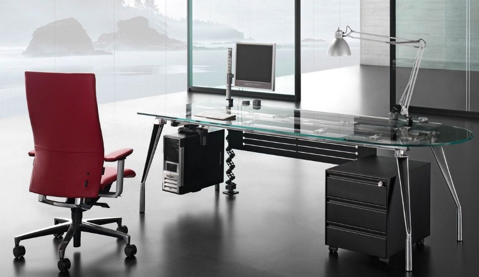 Modern Home Office Executive Desk With Drawer Red Chair
