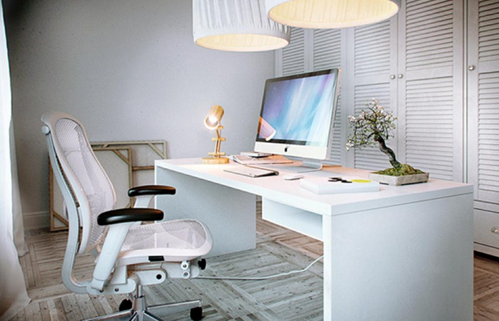 modern home office light fixture and furniture
