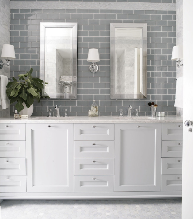Gray Subway Backsplash Polished Nickel Accents Vanity Details Best Bathroom Subway Tile Backsplash