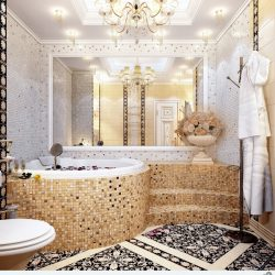 Unique Mosaic Tiled Bathrooms Home Design Lover Minimalist Bathroom Mosaic Tile Designs