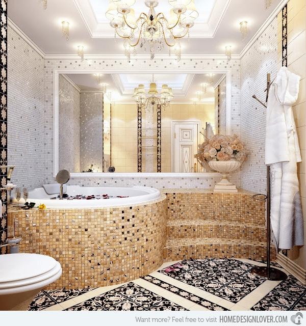 Unique Mosaic Tiled Bathrooms Home Design Lover Minimalist Bathroom Mosaic Tile Designs