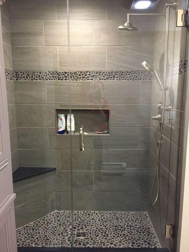 Large Charcoal Black Pebble Tile Border Shower Accent Www Luxury Bathroom Shower Tiles Designs Pictures