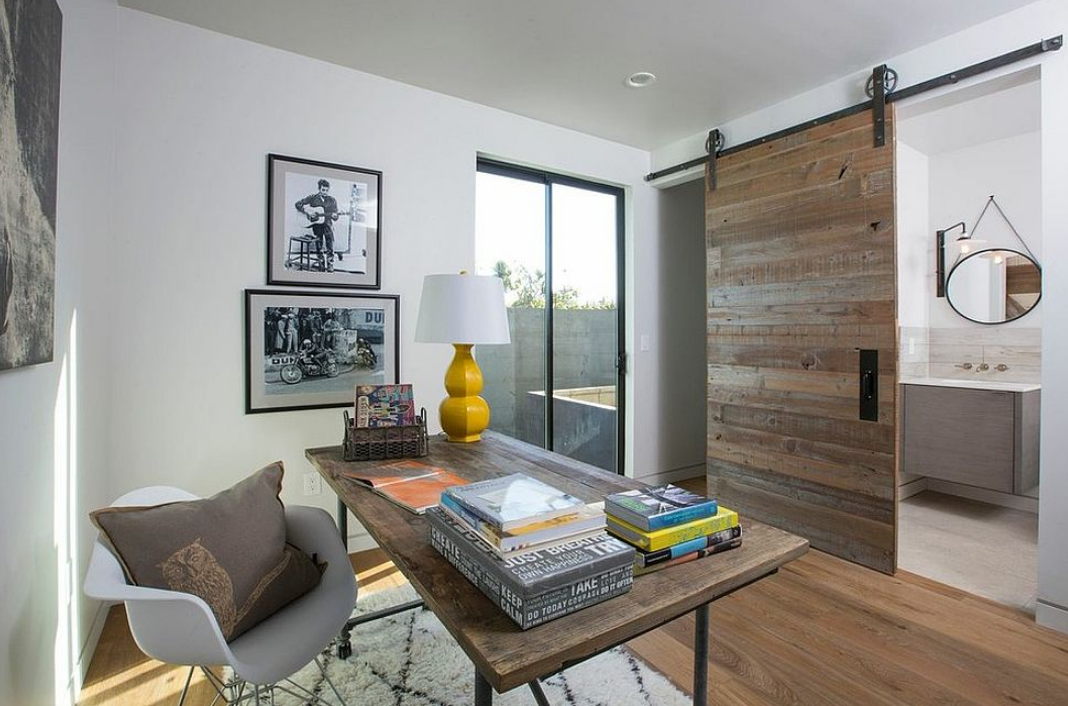 Masculine Modern Home Offices Design With Sliding Barn Doors And Antique Knobs