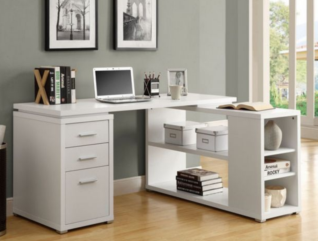 Student L Shaped Home Office Corner Computer Writing Desk In White