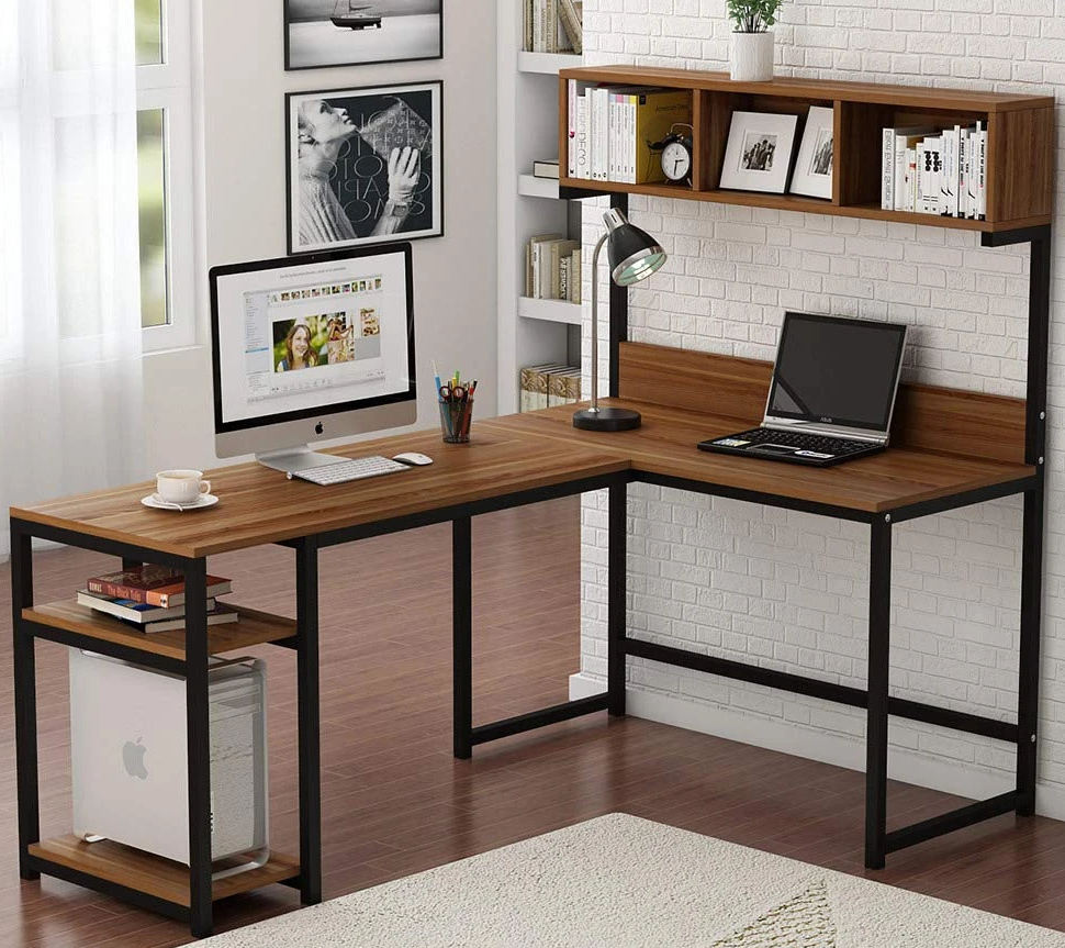 Home Office Corner Computer Desk With Hutch