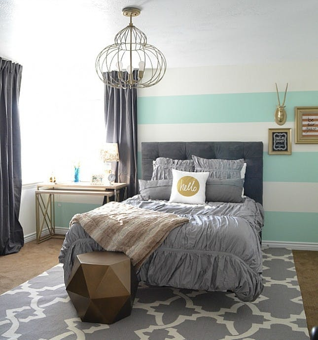 24 Bold Ideas For Striped Walls Brit Co Cheap Bedroom Stripe Paint Ideas