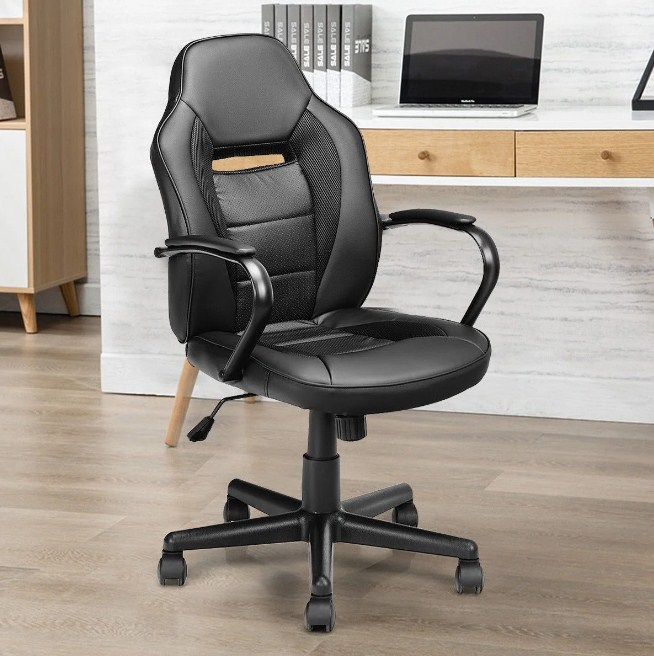 Home Mid Back Office Gaming Chair Racing Chair Swivel Task Computer Home Gymax