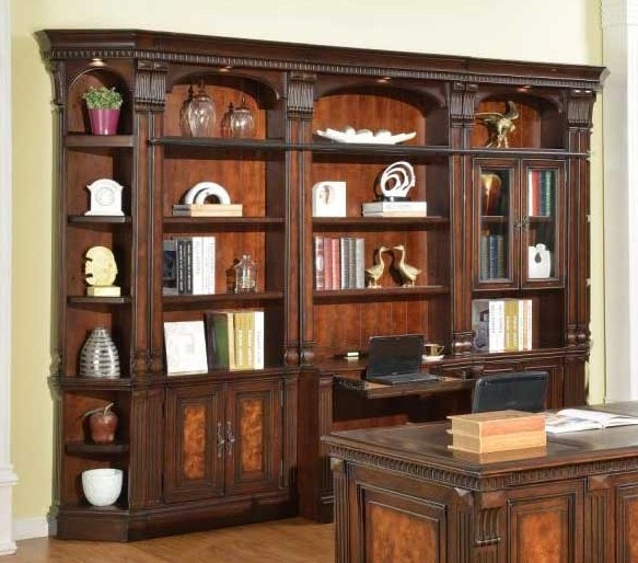 home office bookcase hutch Library Wall in Antique Vintage Dark Chocolate Finish by Parker House