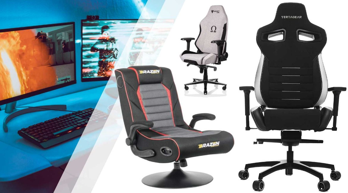 home office computer gaming chair with footrest and tilt silver or black