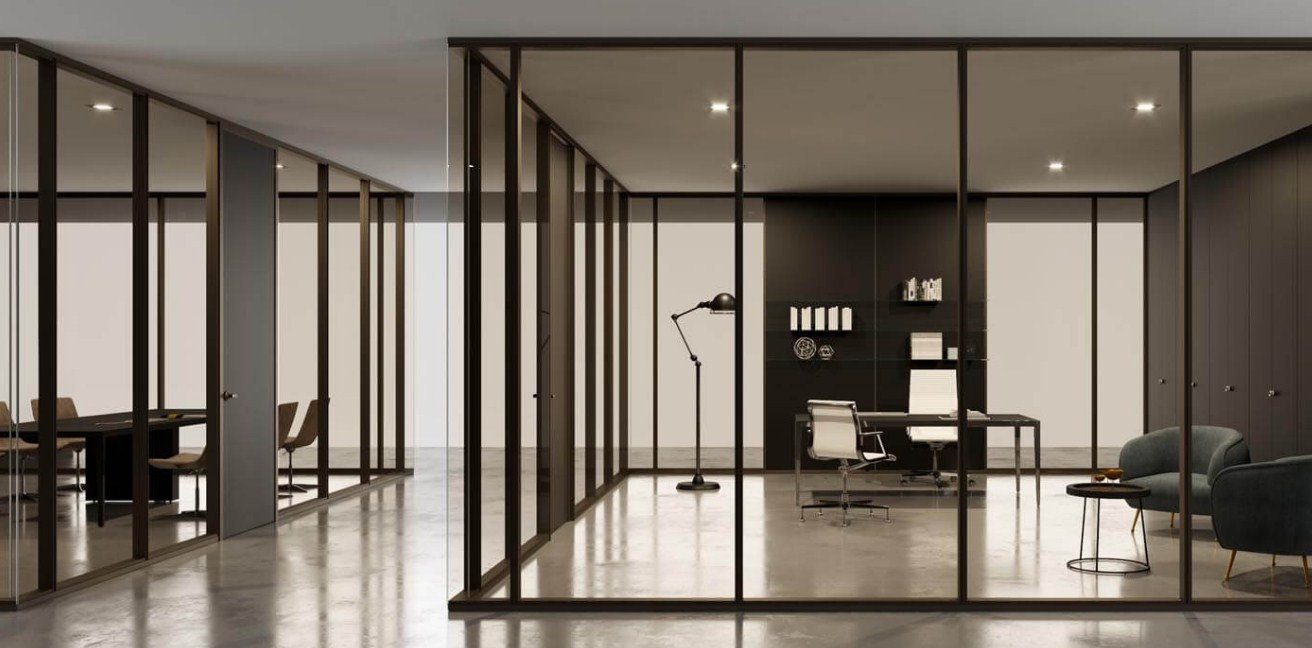 Home Office Glass Partition Walls Dividers Doors