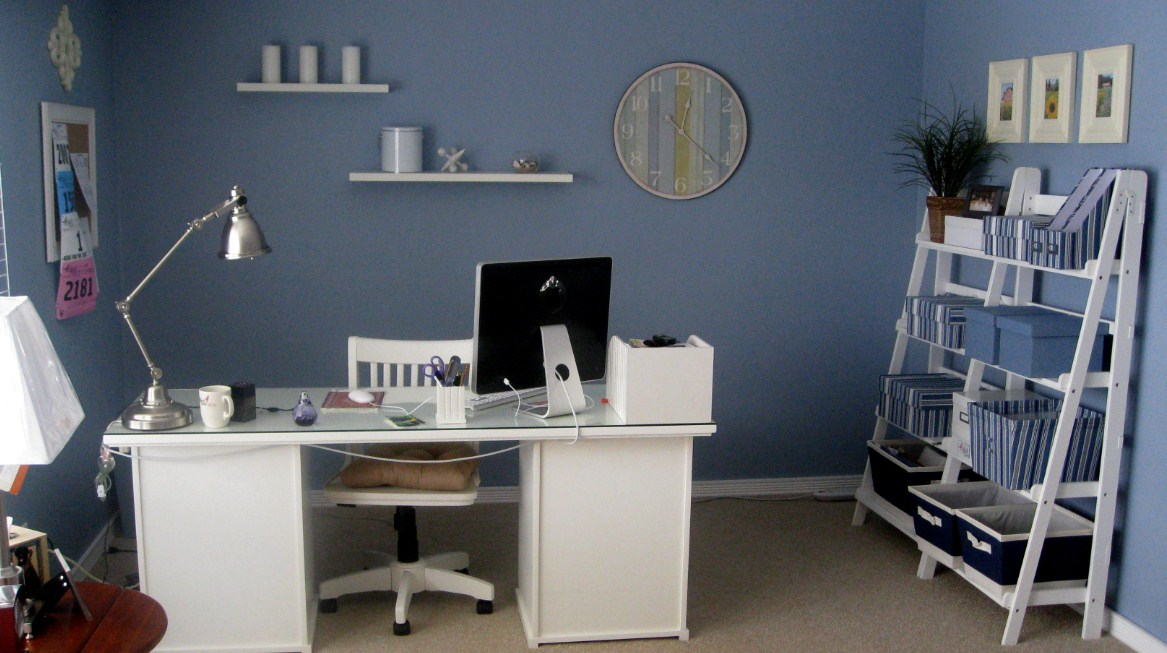 Home Office Ideas Blue Wall Decorating Ideas Furniture