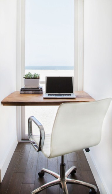 home office ideas in small spaces Make use of a small space and tuck your desk away in an alcove