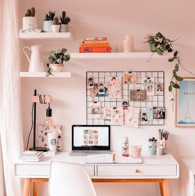 home office ideas pink