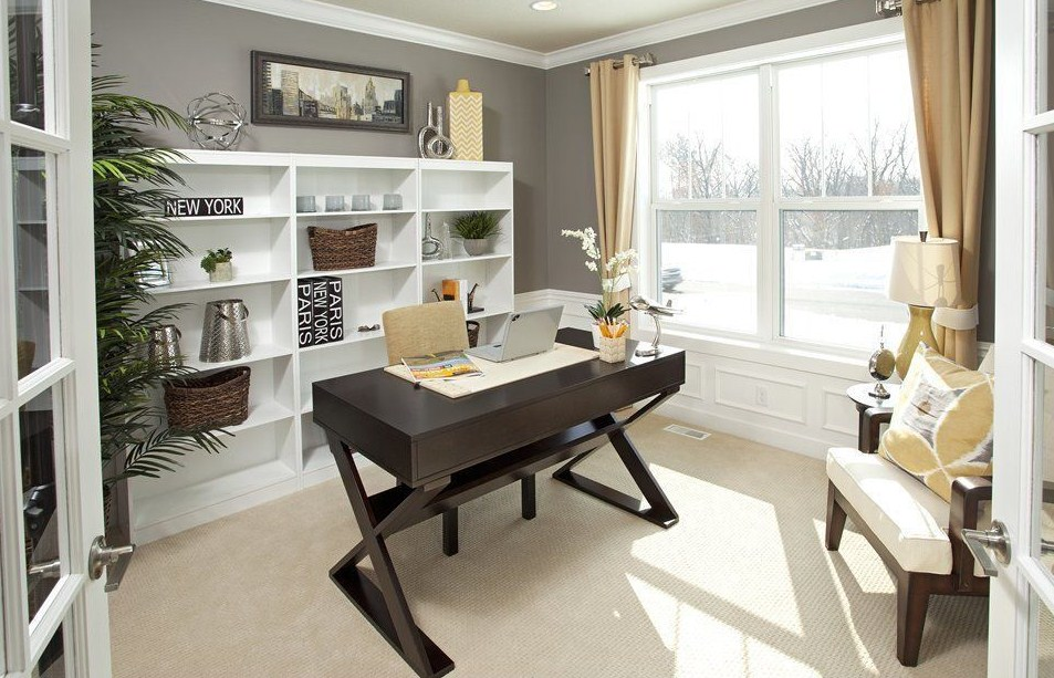 home office ideas with carpet wainscoting built in