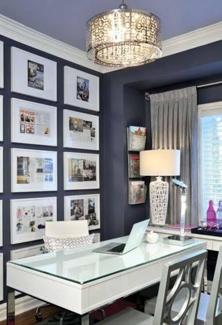 home office interior design photo gallery wall on dark wall jpeg