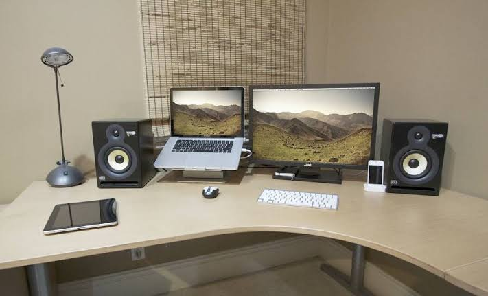 home office laptop and monitor setup desk jpeg