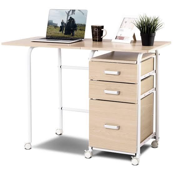 Home Office Laptop Desk Wheeled Gymax Folding