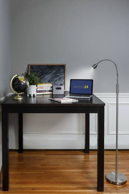 Home Office With Floor Lamp