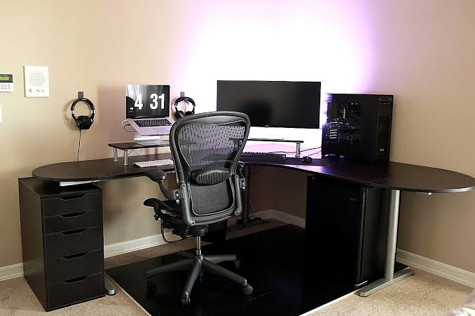 Ikea Galant Home Office Ideas Simple Battlestation Bekant Desk In Black Jpeg