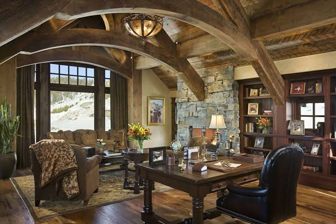 rustic home office lamp cozy workspace jpeg