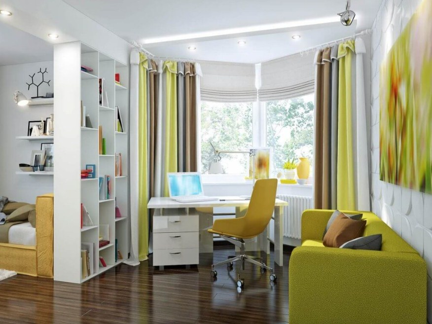 small space home office guest room warm